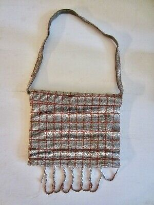 1920s Handbags, Purses, and Shopping Bag Styles Antique French Small Beaded Purse Hand woven Silver and Red Glass Beads 1920's $35.00 AT vintagedancer.com