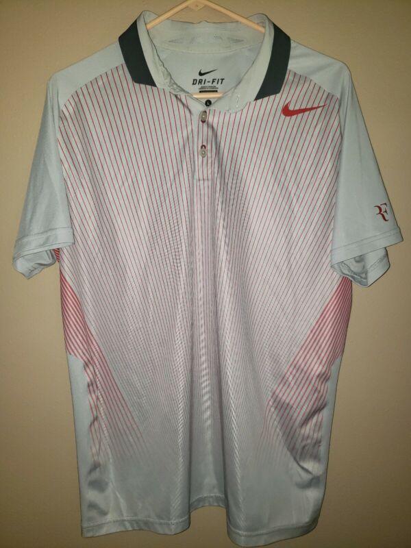 Nike RF Roger Federer Mens Dri Fit Tennis Polo Large
