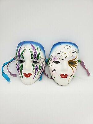 Lot of 2 Ceramic Porcelain Mardi Gras Painted Masquerade Wall Hanging Face Mask