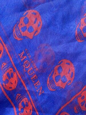 alexander mcqueen scarf Large Silk Red And Blue Skulls