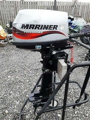 "Outboard motor Mariner 6hp four stroke short 17"" shaft. Freshwater use only."