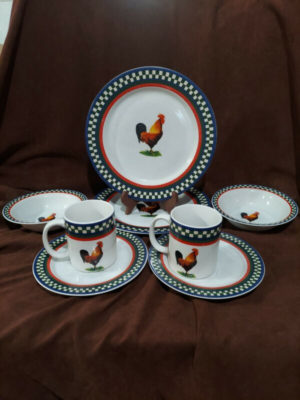 International Tableworks Ellas Rooster Dining Set of 8 Plates Bowls Mugs cute!