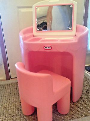Little Tikes CHILD Size Vtg Pink Vanity Mirror & Chair
