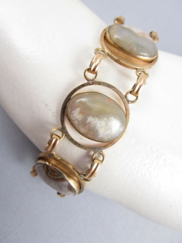 Signed Van Dell Deco Style Peking Glass Gold Filled Linked Bracelet