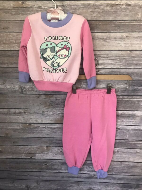 Vintage 90s 2T Toddler Sweatshirt and Sweat Pants Outfit Color Block Kittens