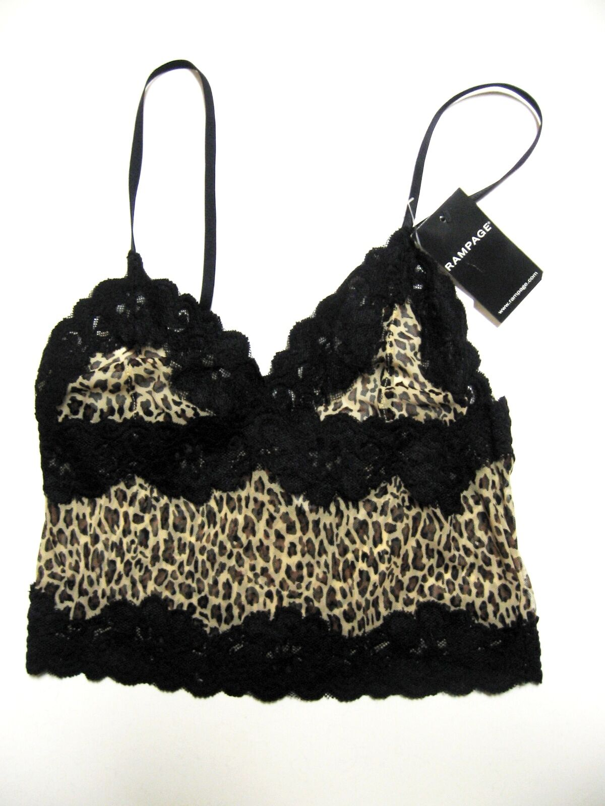 www.prominentresults.com :A341 Rampage NEW Black Animal Prints Contrast Lace Stretch Nylon Camisole S PR