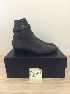 Saint Laurent Paris Wyatt 30 Jodhpur Boots in Grey/Brown 43EU NEW