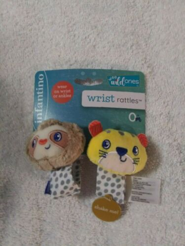 infantino Wrist Rattles Wee Wild Ones Sloth Tiger 0+ Months - NWT