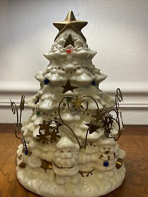 "Vintage Christmas tree porcelain ivory gold accents light up 8"" ceramic"