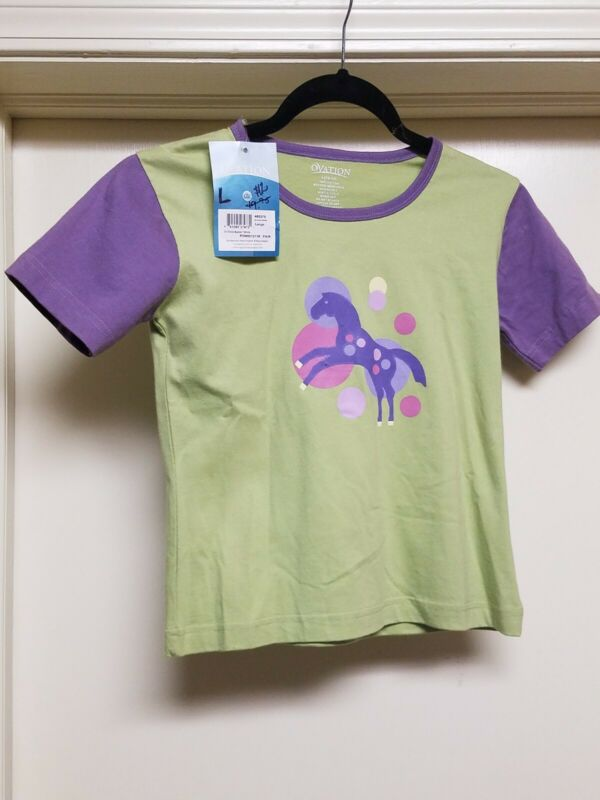 NWT Ovation Girls Lg Pony Bubble tee schooling lesson clothes lime purple pink