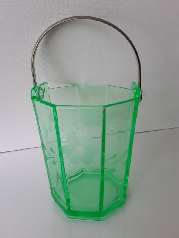 Lovely Etched Green Vaseline/Uranium Glass Ice Bucket