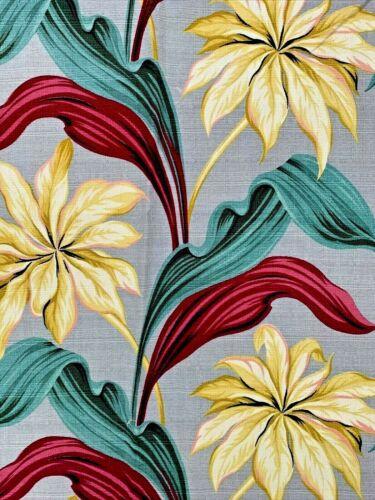 Vintage Mid Century BARKCLOTH Curtain Panel TROPICAL Gray Yellow Reds (6) Avl