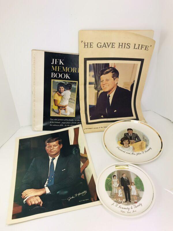 Lot of John F. Kennedy Memorabilia 1 Photo, 2 plates and 2 Magazine