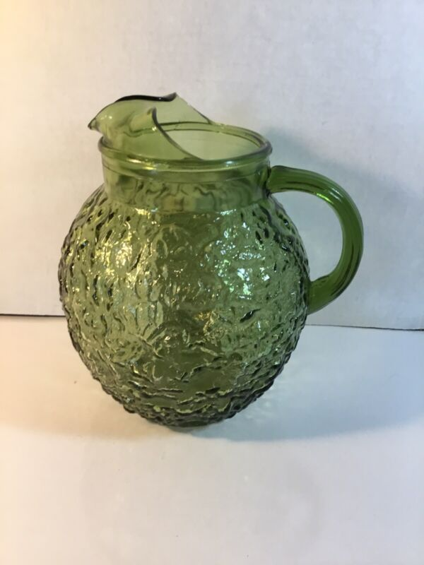 Vintage Green Round Shape Raised Glass Pitcher Pebbled Look Approx. 9""