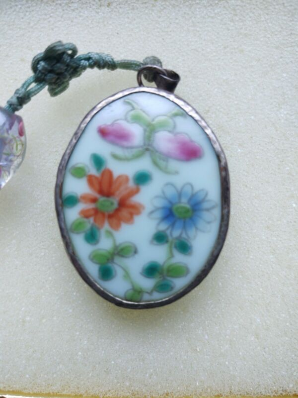 Vintage Chinese Porcelain Shard Pendant. Flowers and Butterfly.  Silver Plate.