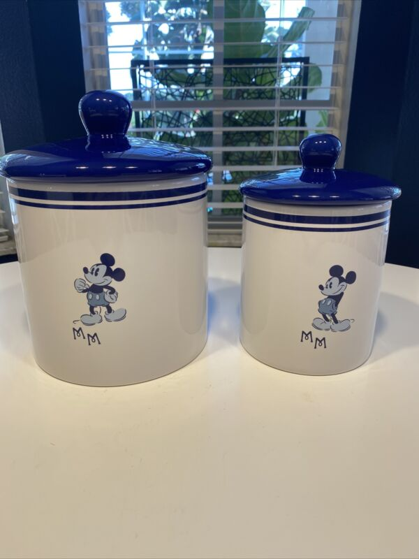 """Disney Mickey Mouse Cobalt Blue/White """"Yummy""""Canisters Medium & Small~Perfect!"""