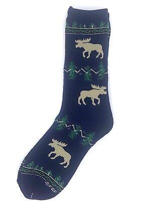 Moose Silhouette For Bare Feet Navy Blue Mens Crew Socks