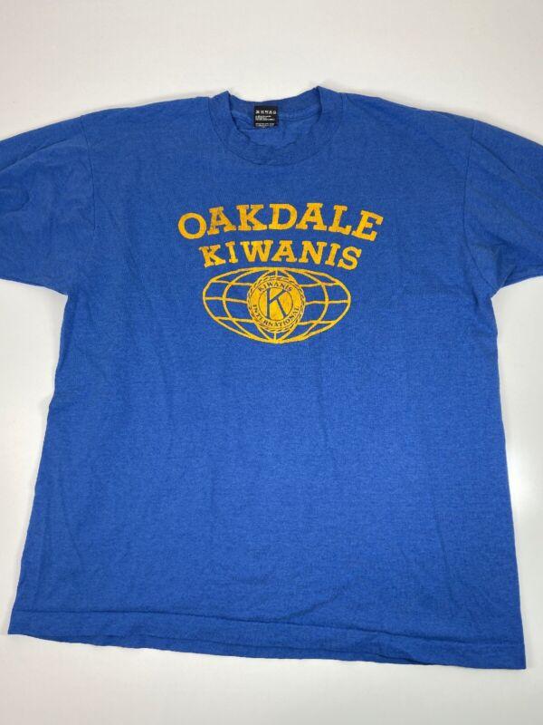 Vintage 1980's Basketball Tournament T-shirt Blue Size XL Oakdale Kiwanis