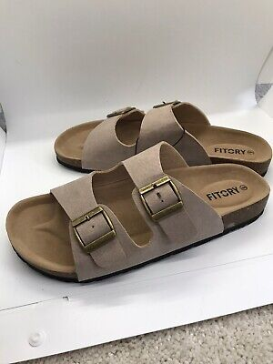 Womens Slip On Sandals Khaki Tan Size 9 New Fitory
