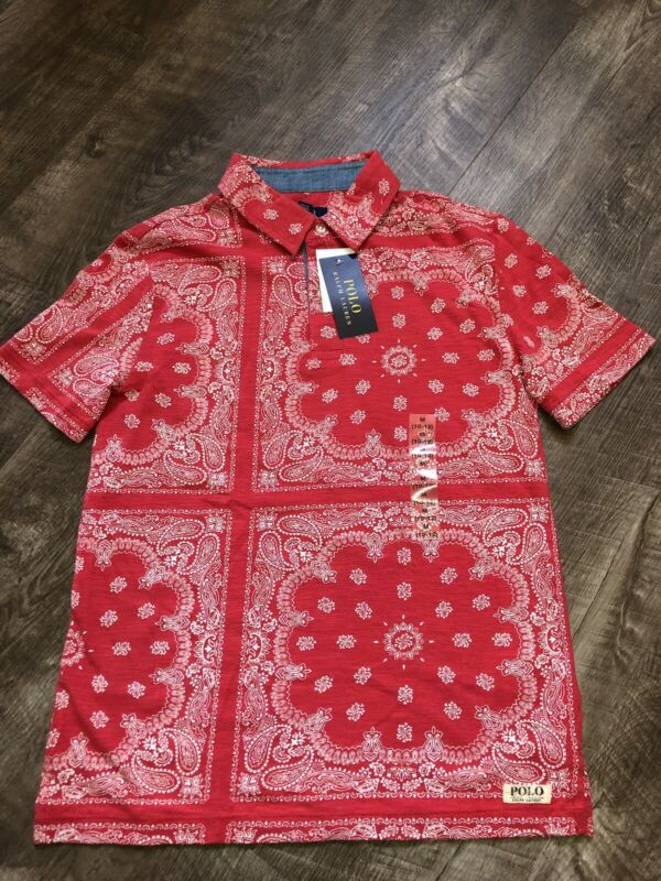 Polo Ralph Lauren Boys Red Paisley Bandana Geometric Short Sleeve Polo Shirt M