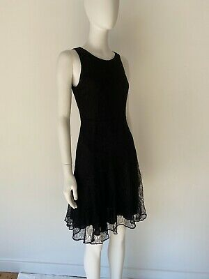 BURBERRY London Black Fit and Flare Women's Dress Size 6 French Chantilly Lace