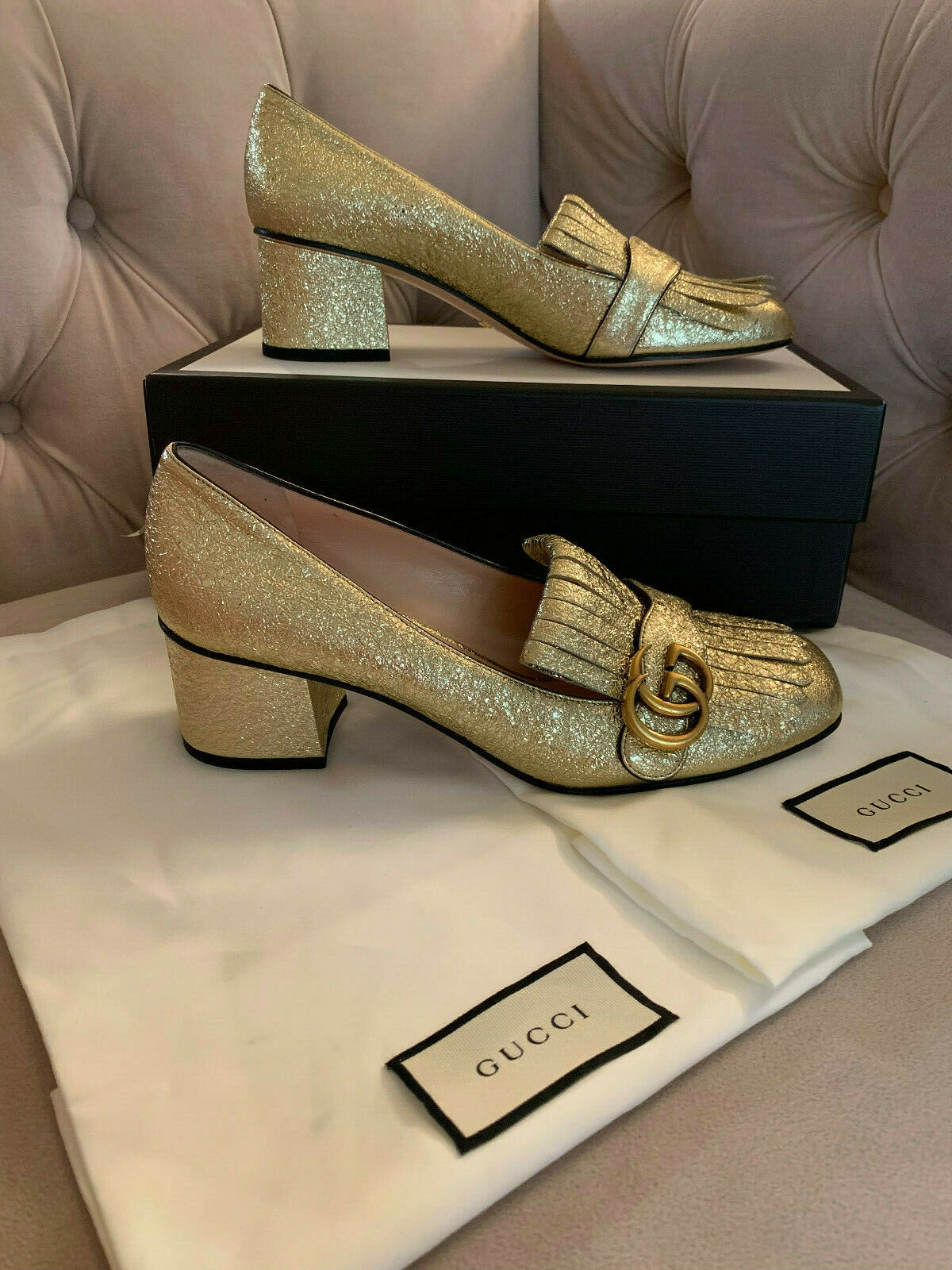 New Gucci Women GG Marmont 55mm Leather Loafer Pumps Platino Gold Sz 40 NIB $830