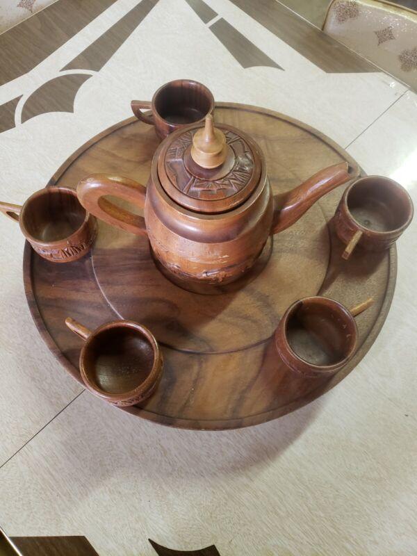 Vintage Tiki Carved Wood Pitcher 5 cups Lazy Susan Alii Woods Honolulu Hawaii