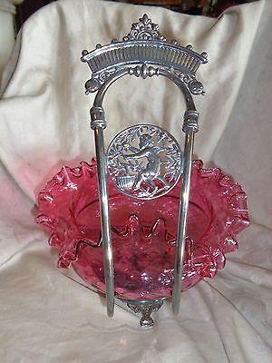 ANTIQUE VICTORIAN MERIDEN SILVERPLATE BRIDES BASKET CHERUB CRANBERRY GLASS BOWL