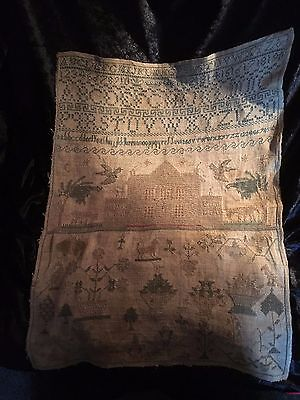 Antique early 19th century sampler c.1830 house, dog, bird, tree, eyelet stich