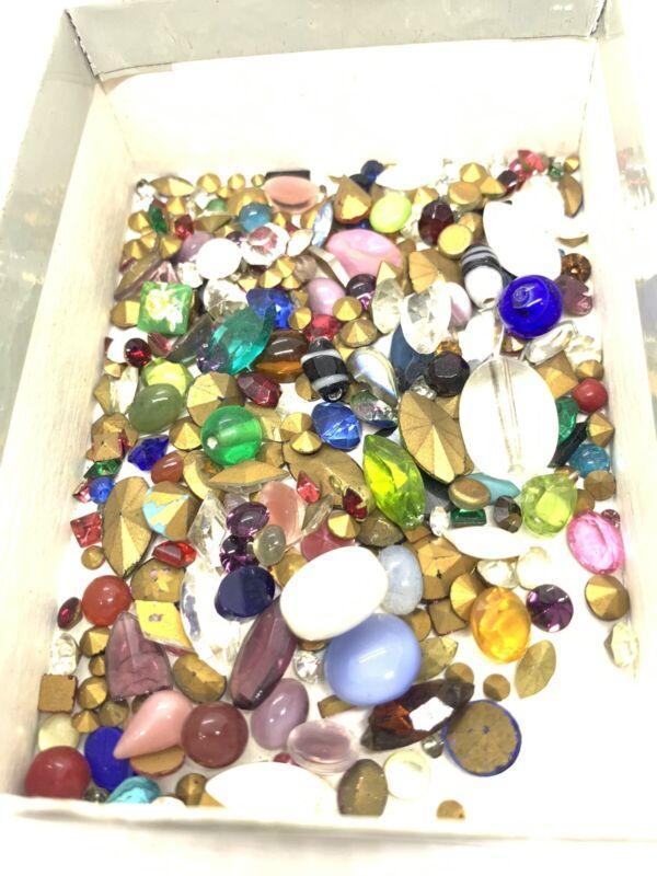 Vintage Lot Of Bohemian Mixed Glass Cabochons B101