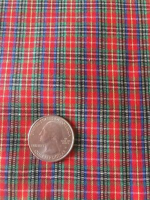 Christmas Fabric Red Blue And Green Plaid Vintage 1 Yard Holiday - Red And Green Christmas