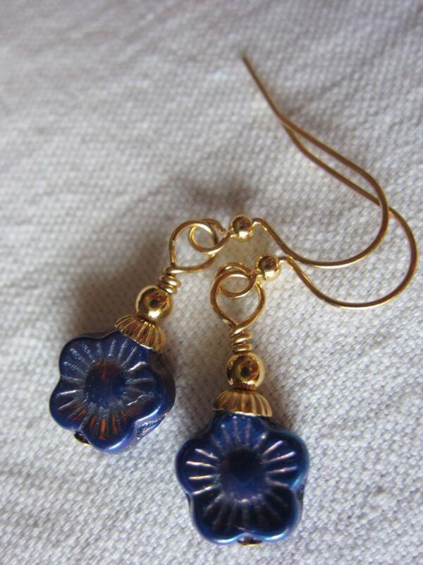 WoodSong MidNight Sun Blue Gold Petite Forget Me Not Flower EARRINGS Kirsten USA