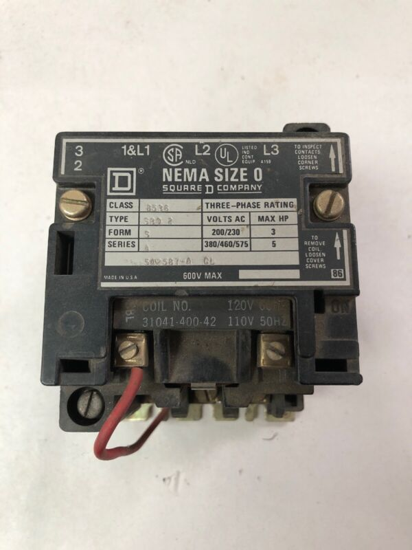 Electric Motor Starter  Square D  Nema Size 0  class8536 (Q6)