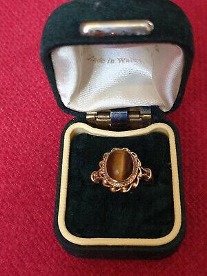 Vintage 9ct Gold Tigers Eye Ring Size N 1/2 Hallmarked London 1979