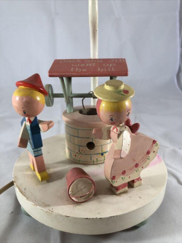 Vintage 1950s Jack & Jill Nursery Wooden 3 Way Lamp Night Light Nightlight Works