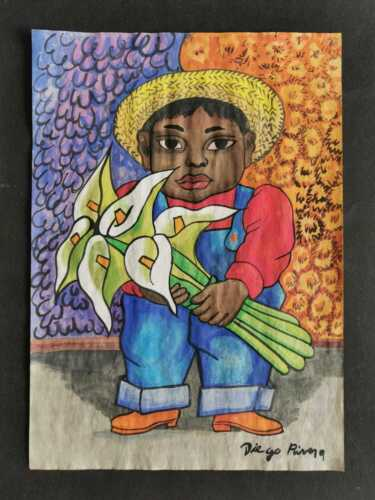 DIEGO RIVERA DRAWING ON OLD PAPER MIXED MEDIA VTG ART