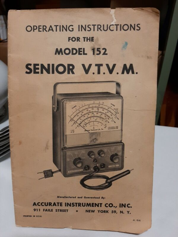 Accurate Model 152 Senior V.T.V.M. Operating Instructions Manual 1964