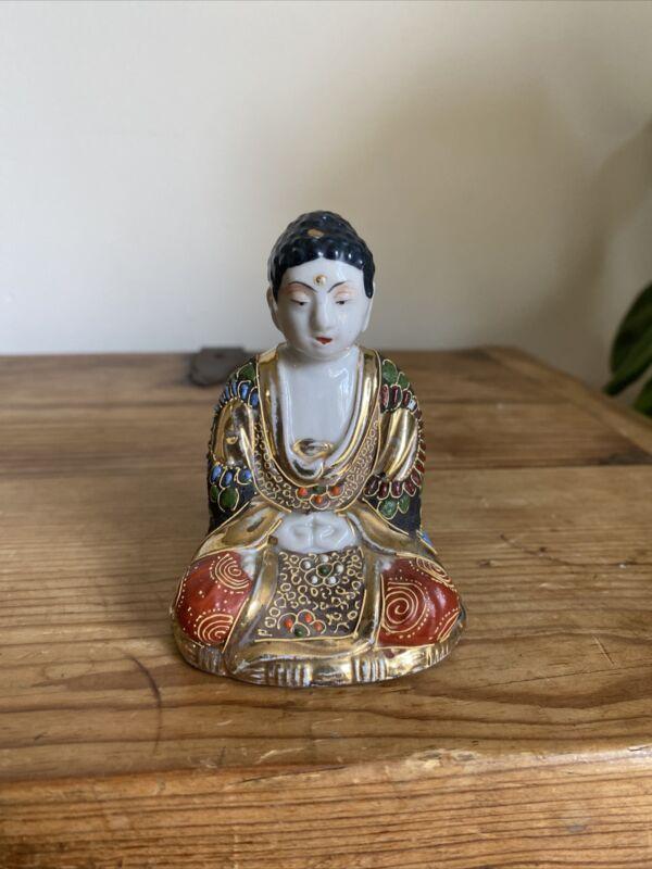 Antique Japanese Moriage Kutani Porcelain Buddha Porcelain Figurine
