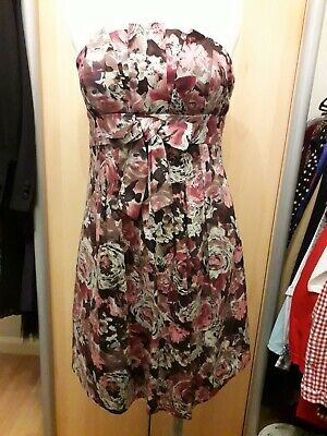 Women's F&F Floral bandeau dress, Size 10, pink/grey, bow front Bow-front Floral Dress