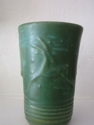 Niloak Pottery Dark Green Vase - Flared with Leaping Deer