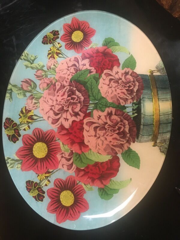 John Derian large decoupage large dish with flowers in basket
