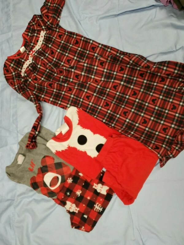 LOT OF 3 -GIRLS 2 piece PAJAMA SETS  1 nightgown  L 10 12 warm fleece