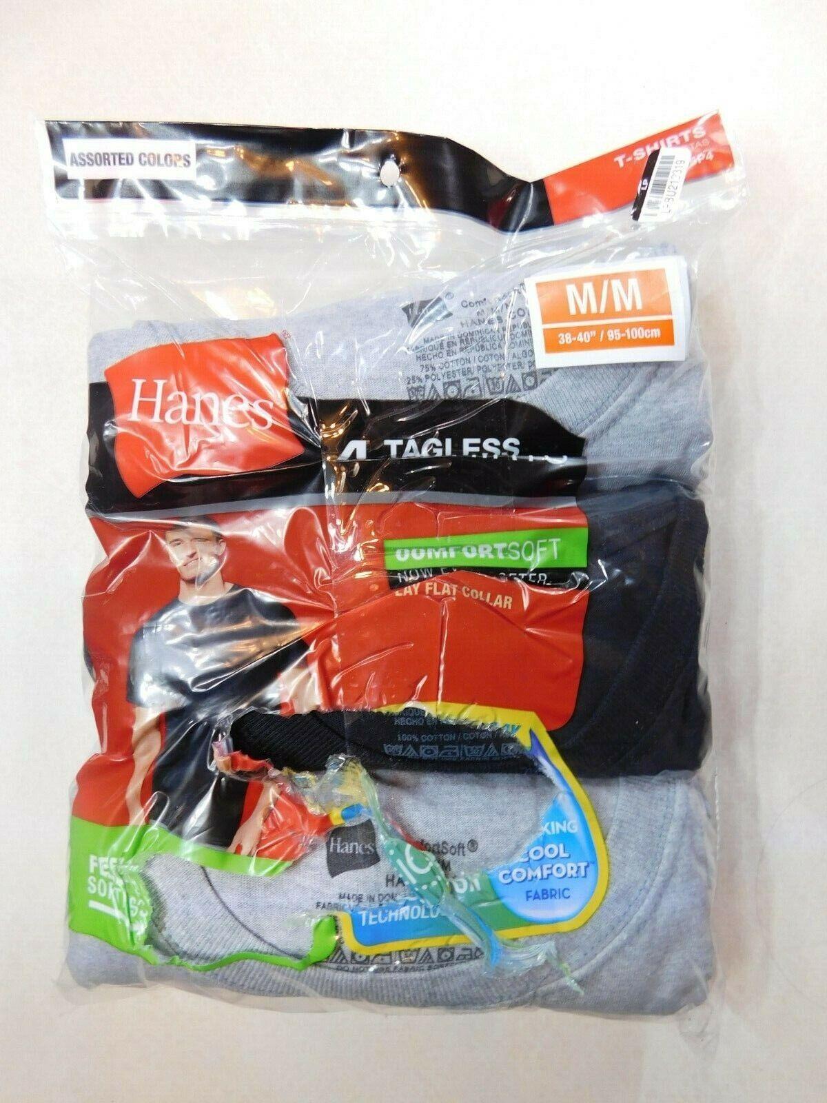 Hanes Mens Medium Cotton Tagless T-shirts Tee Black Gray 3-p