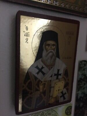 Mini greek orthodox icon Of Saint Nectarios Of Aegina