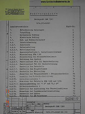 KSG1300 Sendegerät ,  Interne Prüfvorschrift, 30 Seiten Funkwerk-Köpenick
