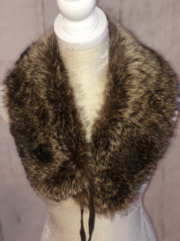 Vintage Mink??FOX?? Cyote?? Fur Collar Neck Warmer Scarf Stole - Golden Brown