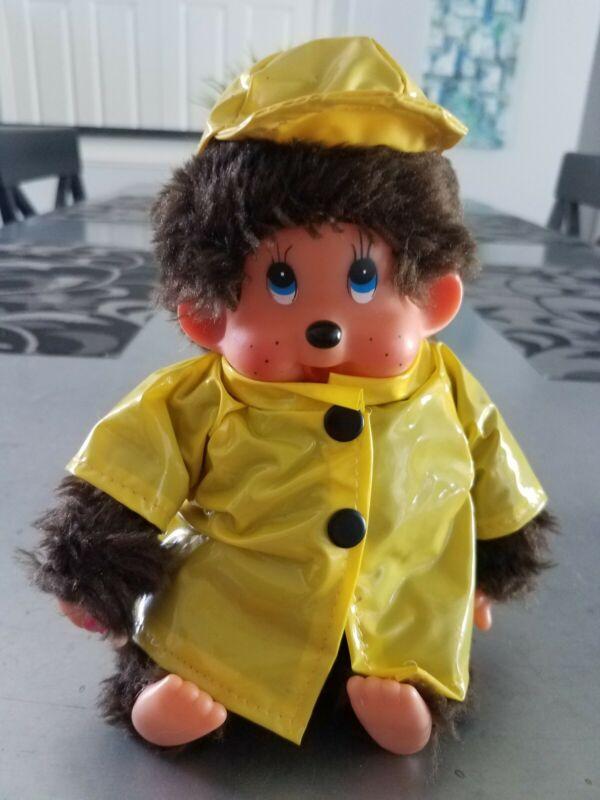 "MONCHHICHI Baby boy Doll  8"" Plush Stuffed Animal rain coat monkey 🔥RARE!"