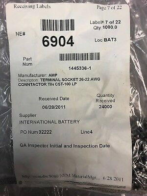 4000pcs.1445336-1 Amp- Te Cst-100 Series Socket Crimp26- 22 Awg Tin