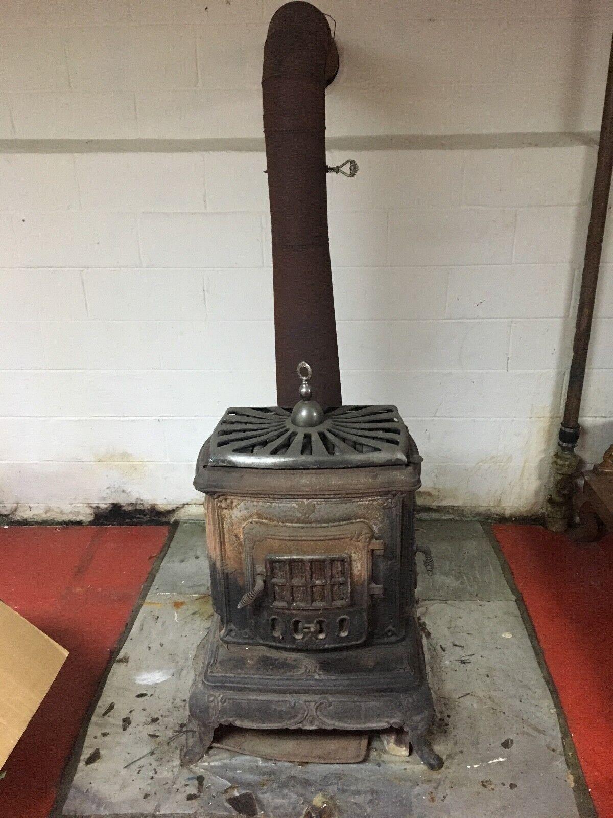 Antique Cast Iron Wood Burning Parlor Stove