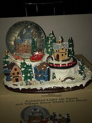 Animated Lighted Santa Village Snow Globe with Music Christmas Scene In Box